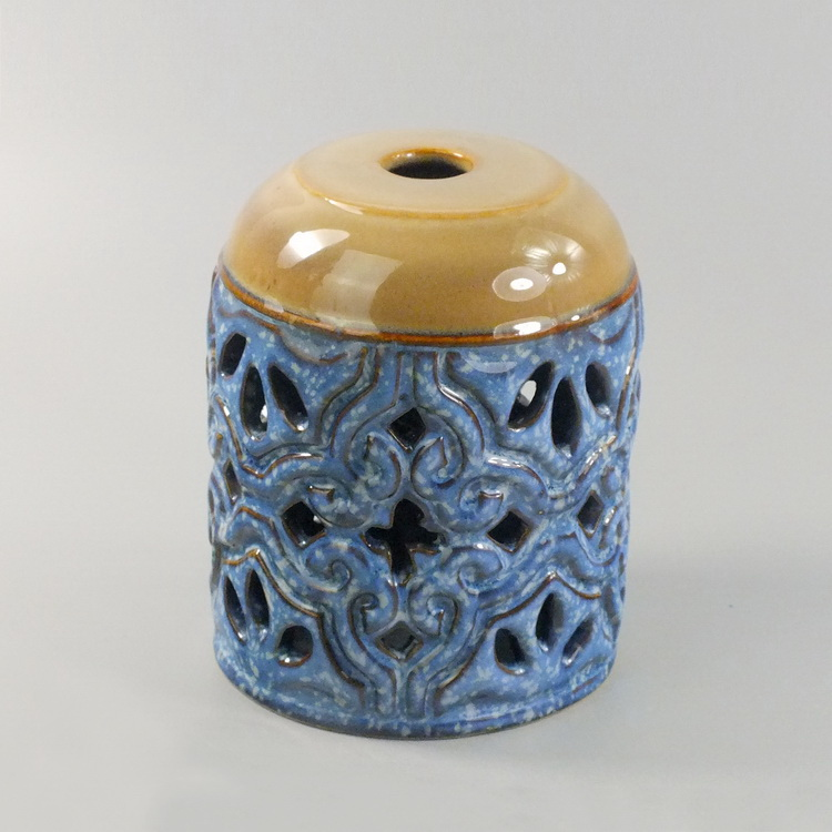 Aroma Diffuser Ceramic Blue brown pattern details1