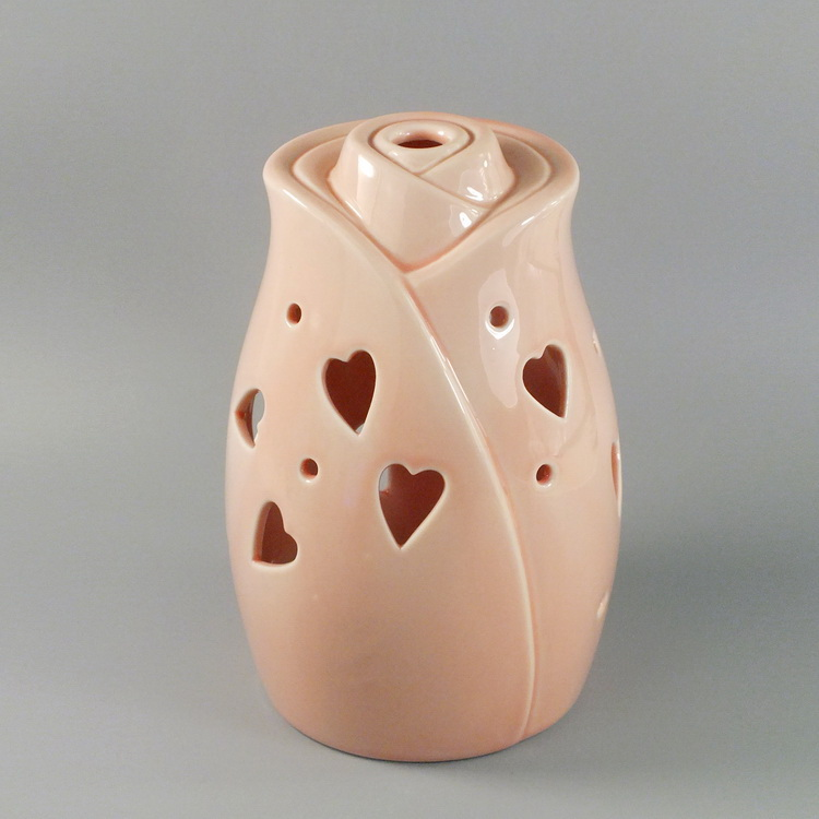 Aroma Diffuser Ceramic Pink Rose with heart cover